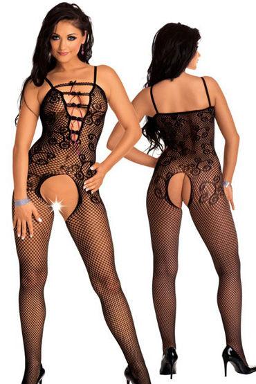 Roxana костюм, черный Сетчатый с узором, на шнуровке
