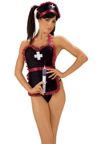 Roxana костюм медсестры, черный 3 предмета, отделан красной оборкой