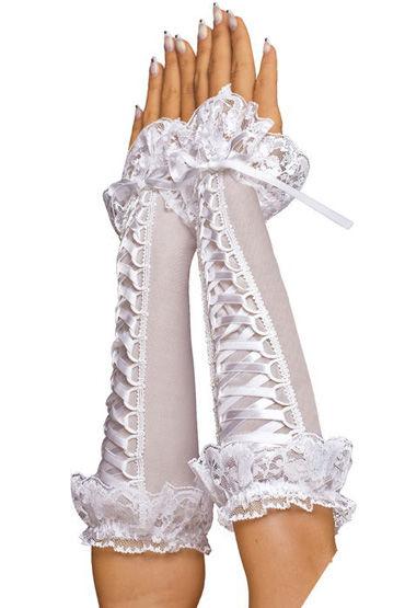 Roxana перчатки, белые До локтя, со шнуровкой