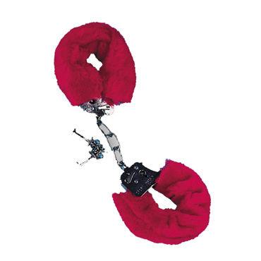 Tonga наручники, 6 см, красные, Обшиты мягкой тканью, соединены декоративной цепочкой