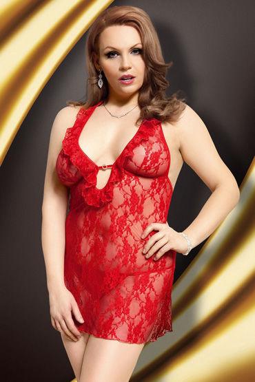 Soft Line ночная сорочка и стринги, красные Ажурная, низкий вырез декольте
