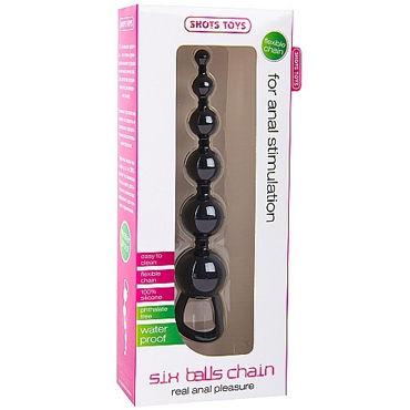 Shots Toys Six Balls Chain, черный Силиконовая анальная цепочка