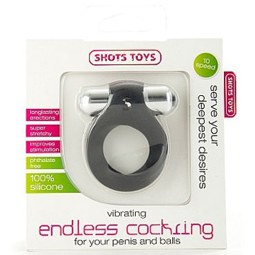 Shots Toys Vibrating  Endless Cocking, черный Эрекционное кольцо с одной вибропулей