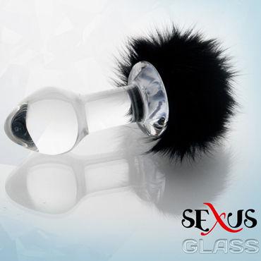Sexus Glass анальная втулка, С пушистым черным хвостиком