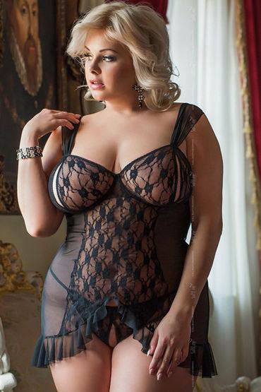 Soft Line Комбинация и стринги, черные С вырезами в области груди и промежности