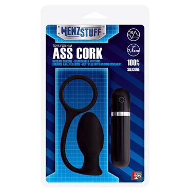 Menzstuff Ass Cork Small, черная, Анальная втулка с вибраией