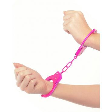 Pipedream Neon Fun Cuffs, розовые Наручники неоновые металлические с ключиками