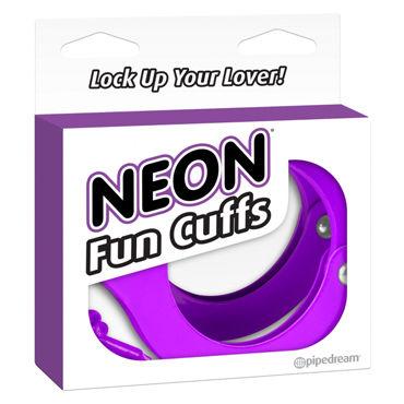 Pipedream Neon Fun Cuffs, фиолетовые Наручники неоновые металлические с ключиками