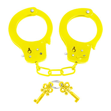 Pipedream Neon Fun Cuffs, желтые Наручники неоновые металлические с ключиками