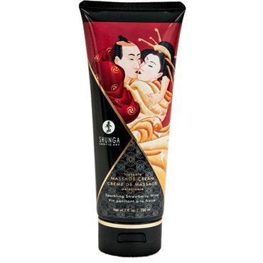 Shunga Kissable Massage Cream Sparkling Strawberry Wine, 200 мл Съедобный массажный крем с ароматом клубничного шампанского