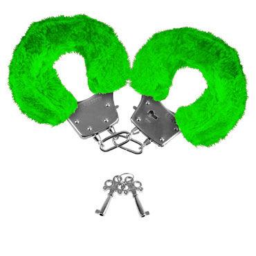 Pipedream Neon Luv Touch Neon Furry Cuffs, зеленые Наручники неоновые металлические