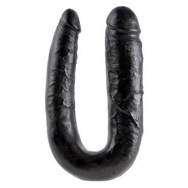 Pipedream King Cock U-Shaped Large Double Trouble, черный Фаллоимитатор двухсторонний
