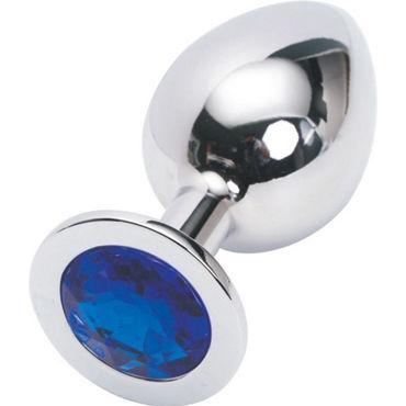 4sexdreaM Пробка металлическая, серебристая Средняя с синим кристаллом