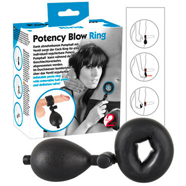 You2Toys Inflatable Cockring small, черное Эрекционное кольцо надувное