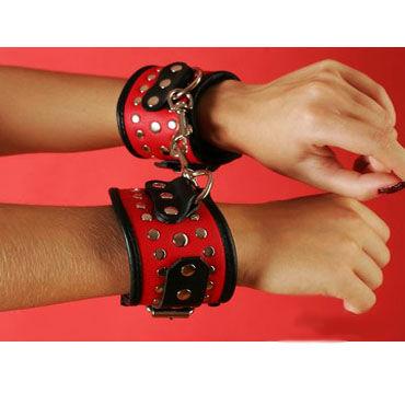Podium наручники, черно-красные С заклепками