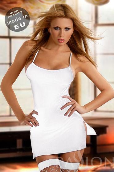 Passion Aton мини-платье и стринги, белые С разрезами по бокам, бретельками, со стрингами