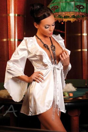 Passion Ellia пеньюар Атласный с шелковыми ленточками спереди