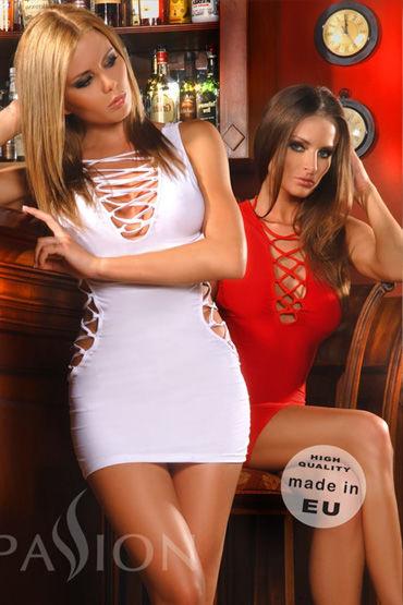 Passion Flamingo мини-платье, белое Стрейч, с фигурными вырезами