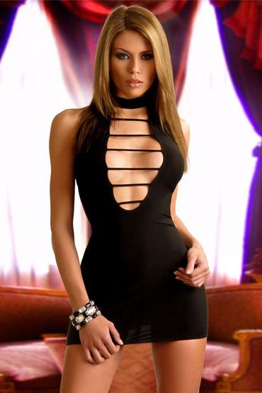 Passion Laima мини-платье, черное С фигурным вырезом в области декольте