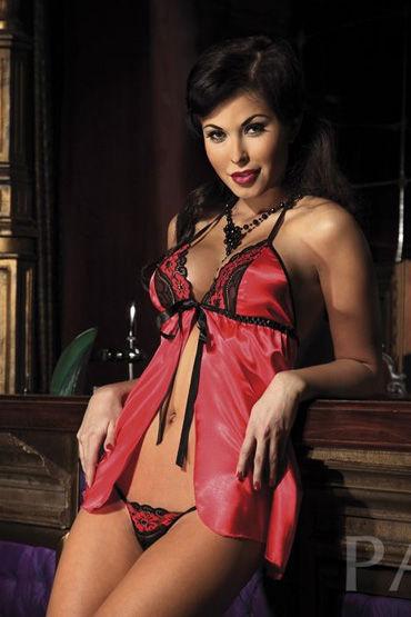 Passion Noemi комплект, красный Атласный, с кружевным лифом