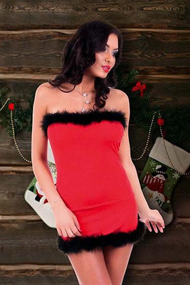 Passion Claudia Санта Платье с черной меховой отделкой