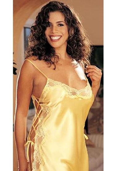 Shirley комбинация, желтая С разрезами, на шнуровке