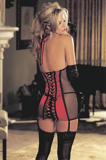 Shirley комбинация, черно-красная С завязкой на шее и шнуровкой сзади
