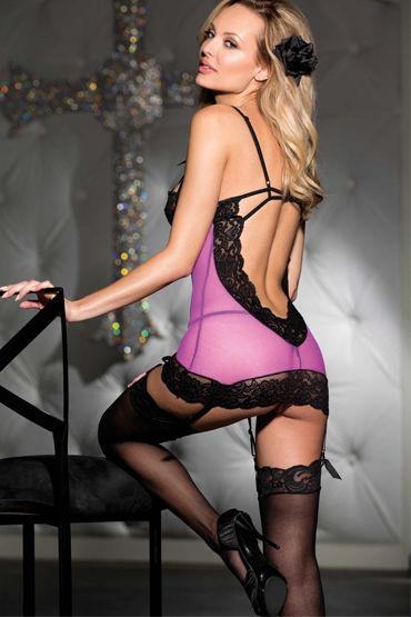 Shirley комбинация и стринги, лиловые Прозрачная, с открытой спиной