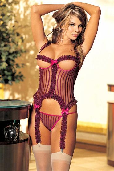 Shirley комплект, сливово-розовый Корсет с открытой грудью и стринги