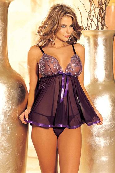 Shirley комбинация и стринги, пурпурные С атласной отделкой и бантиком