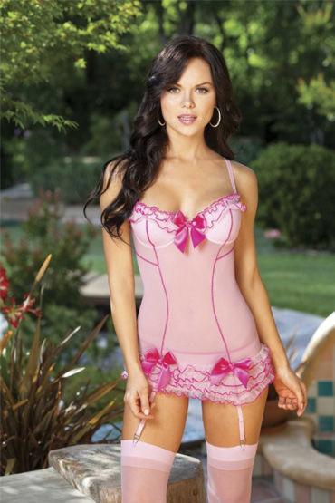 Shirley комплект, розовый C рюшами и бантиками