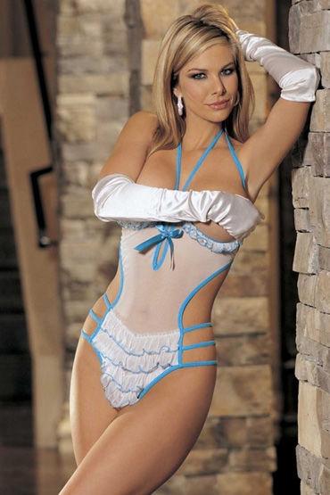 Shirley боди, бело-голубое Прозрачное, на шнуровке
