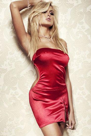 Soft Line платье, красное Короткое, со шнуровкой