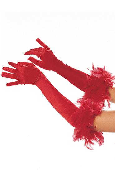 Shirley перчатки, черные С отделкой из перьев