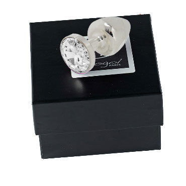 Diogol Anni Round T4, серебро Анальная пробка с кристаллом Swarovski