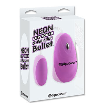 Pipedream Neon 5 Function Bullet, фиолетовое Виброяйцо с выносным пультом