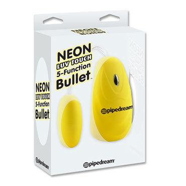 Pipedream Neon 5 Function Bullet, желтый Виброяйцо с выносным пультом