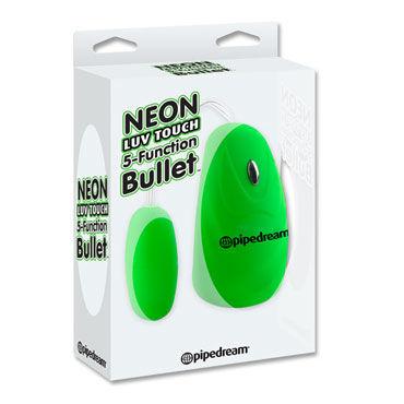 Pipedream Neon Luv Touch 5 Function Bullet, зеленое Многоскоростное виброяйцо