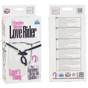 California Exotic Love Rider Lover's Thongs, черные Вибротрусики со стимулирующими бусинами