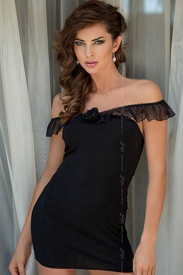 Soft Line Adeline, черный, Сорочка с бретельками-рюшами - Размер S-M