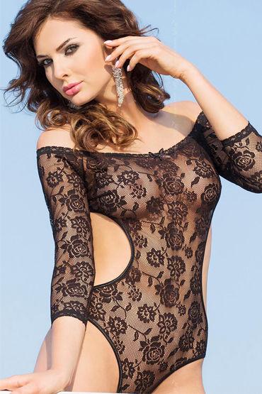 Soft Line Rosa, черный, Роскошное боди с длинными рукавами - Размер S-M