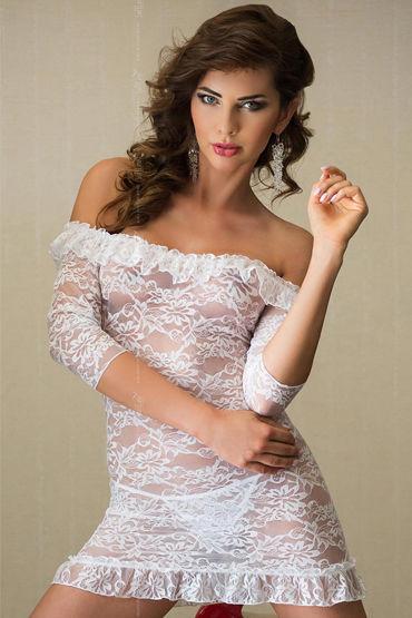 Soft Line Agathe, белый, Кружевная сорочка и стринги - Размер S-M