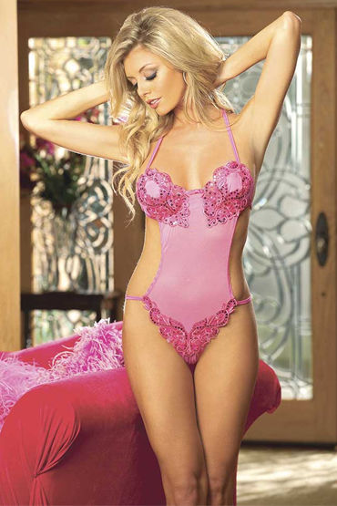 Shirley боди, розовое С вышивкой и пайетками