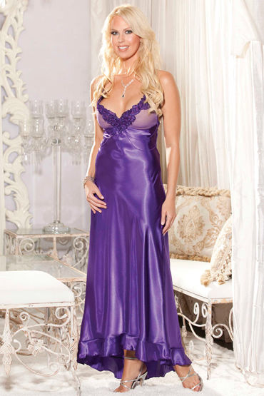 Shirley комбинация, фиолетовая Длинная, с вышивкой на груди