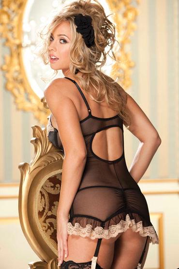 Shirley комплект, черный Сорочка с прозрачными вставками и стринги