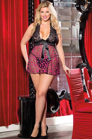 Shirley комбинация, черно-розовая В крупный горошек