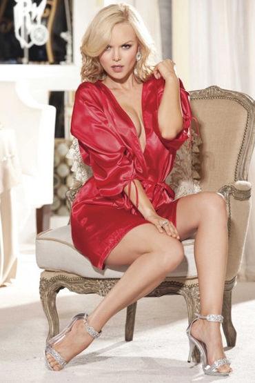Shirley пеньюар, красный Атласный, с поясом