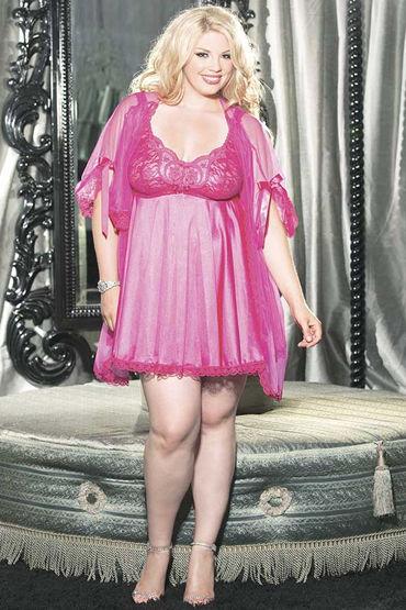 Shirley комплект, розовый Атласная сорочка, накидка и стринги