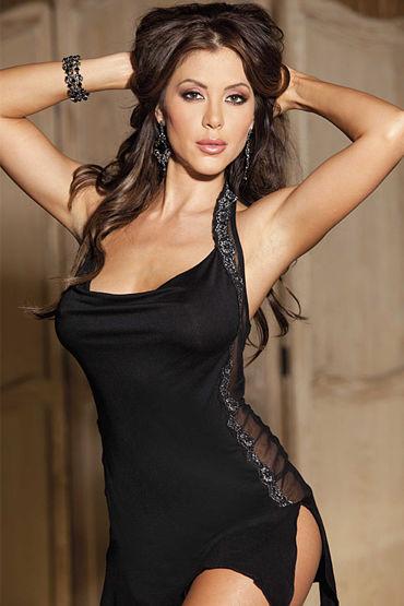 Shirley комплект, черный Сорочка с прозрачными вставками и трусики