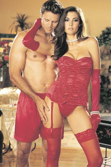 Shirley комплект, красный Корсет с драпировкой и стринги